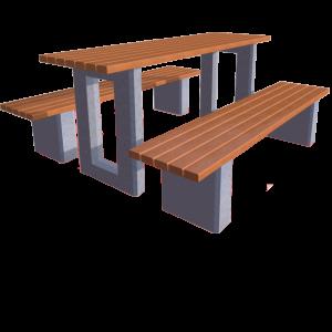 Parka galdi ar betona kājām